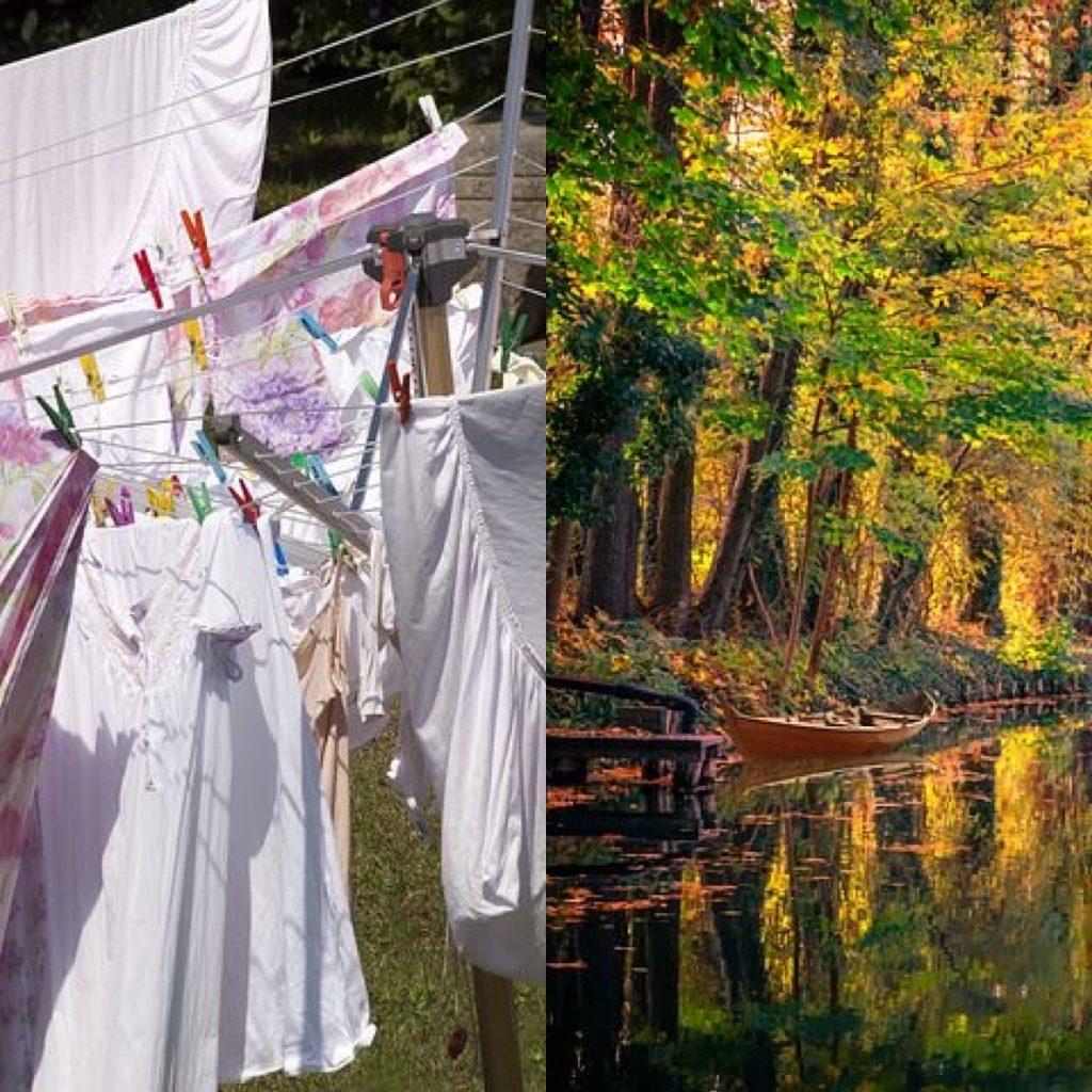Links hängt Wäsche auf Leinen, rechts ein Fluss mit Bäumen am Ufer