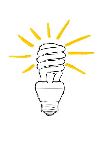 Zeichnung einer Stromsparlampe, die leuchtet