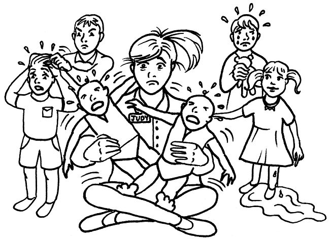 Frau im Schneidersitz, um sie viele weinende Kinder