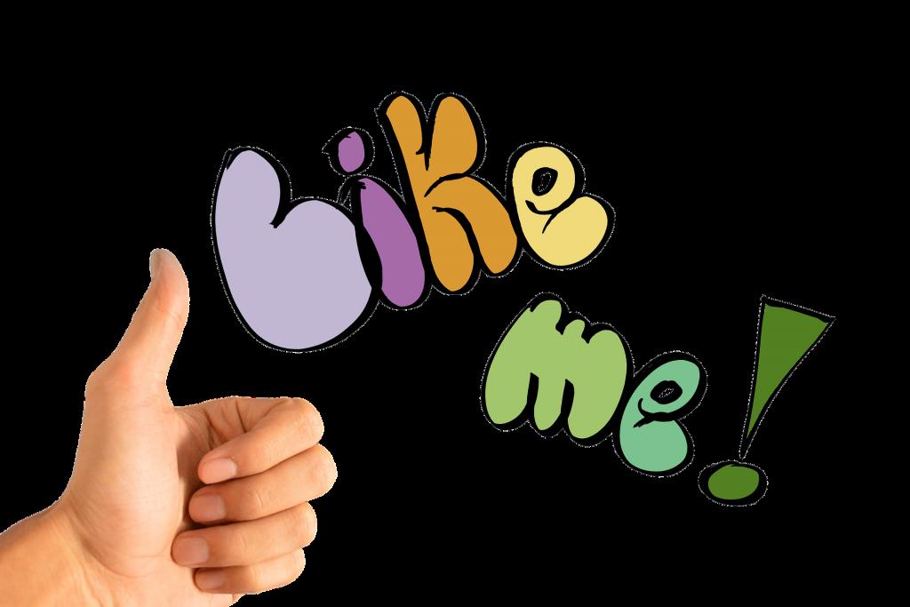 """Eine Hand mit einem nach oben gestreckten Daumen. Daneben steht in bunten Buchstaben """"like me!"""""""