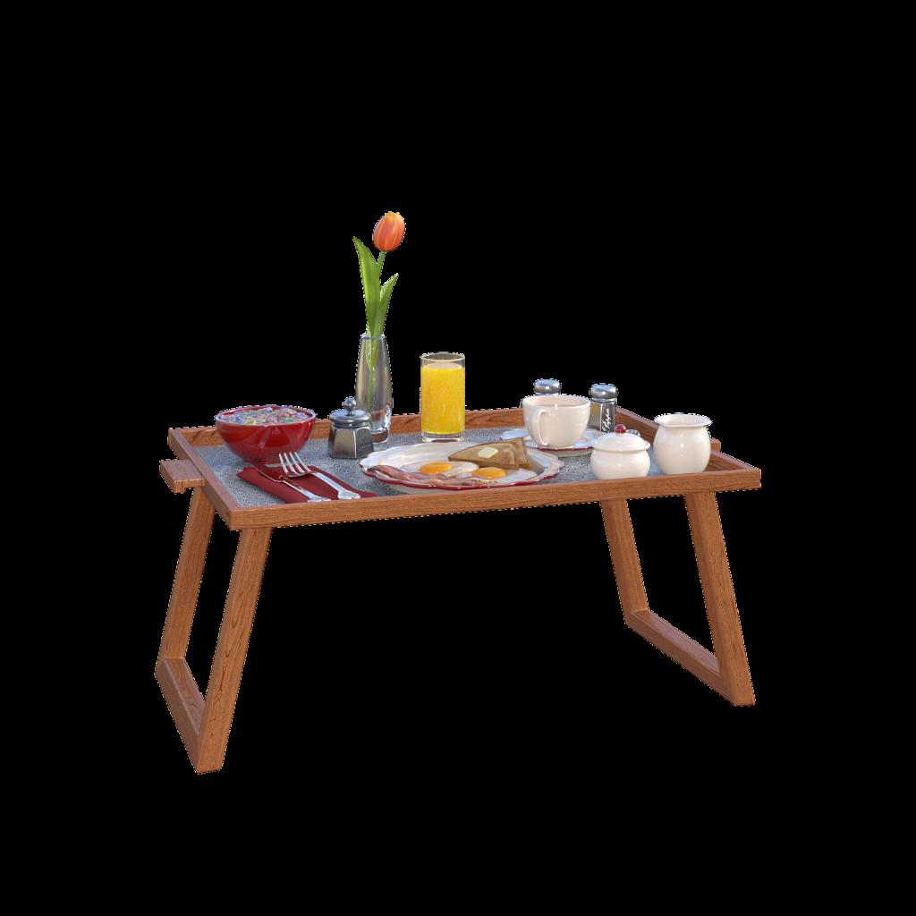 Ein Tablett mit Frühstück fürs Bett. auf dem Tablett sind Eier, Kaffee, eine Schale mit Müsli und Orangensaft.