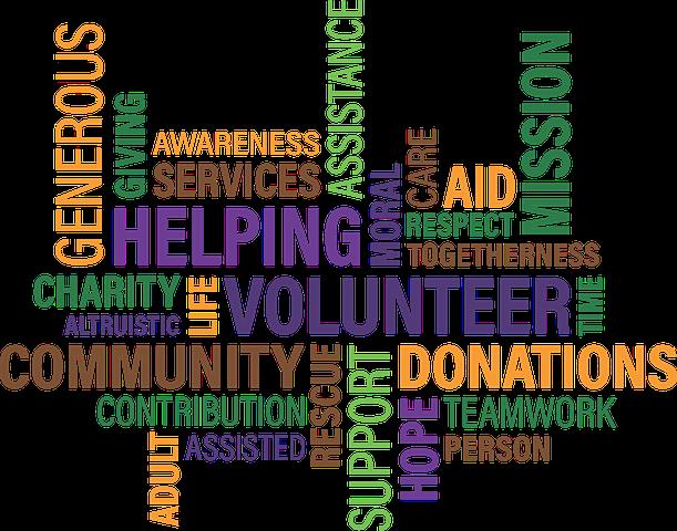 Wortwolke mit vielen englischen Begriffen für Freiwilligkeit, Helfen und so weiter