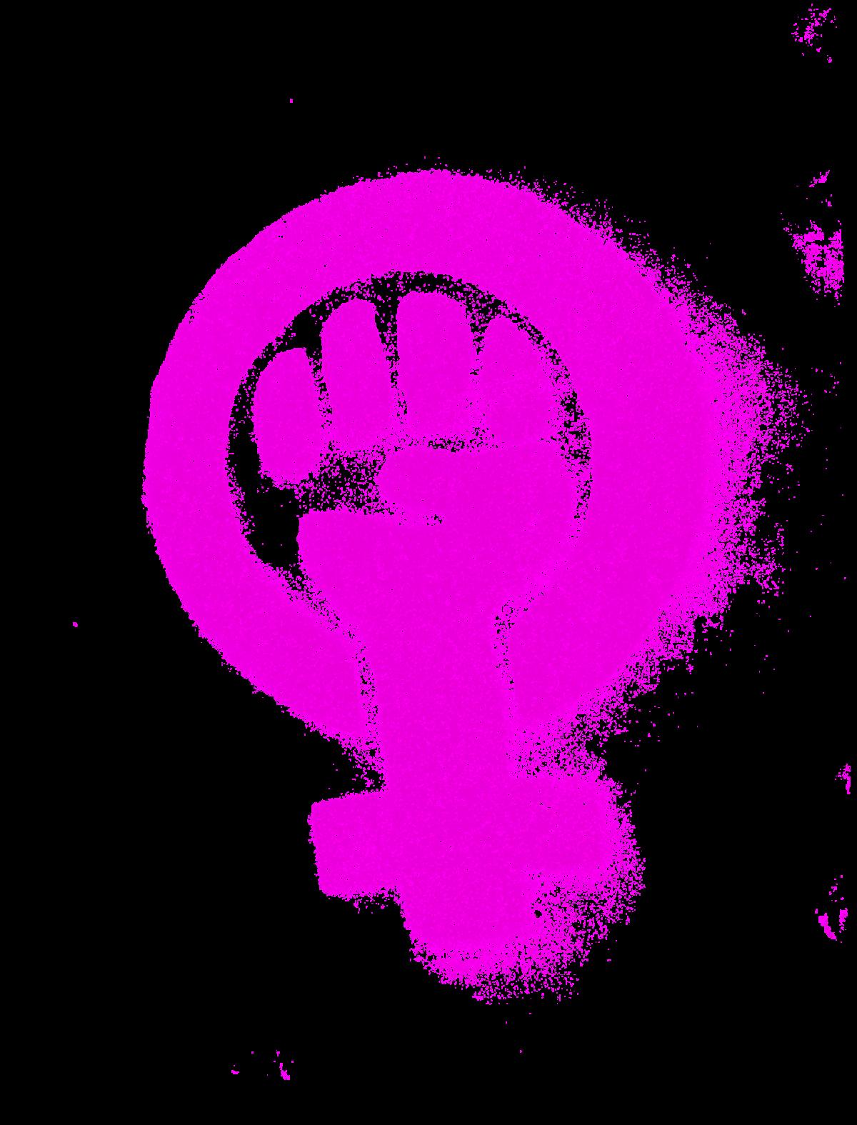 Symbol für Weiblich mit geballter Faust in pink