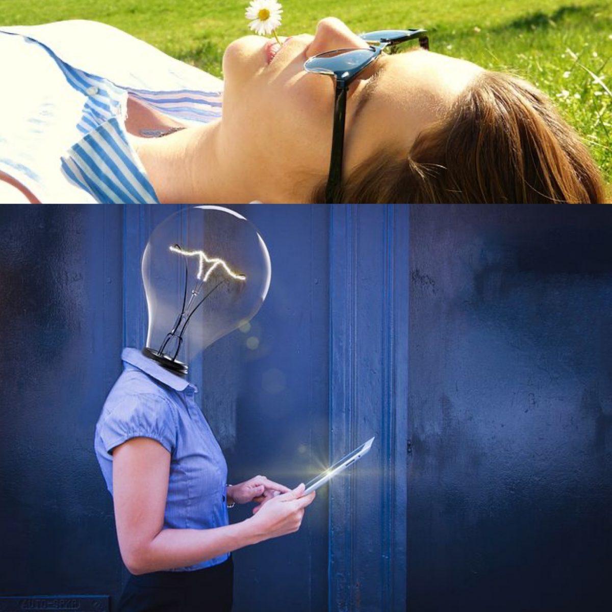 oben Frau auf einer Wiese liegend mit Gänseblümchen im Mund und Sonnenbrille, unten Frau mit Tablet in der Hand und Glühbirne als Kopf