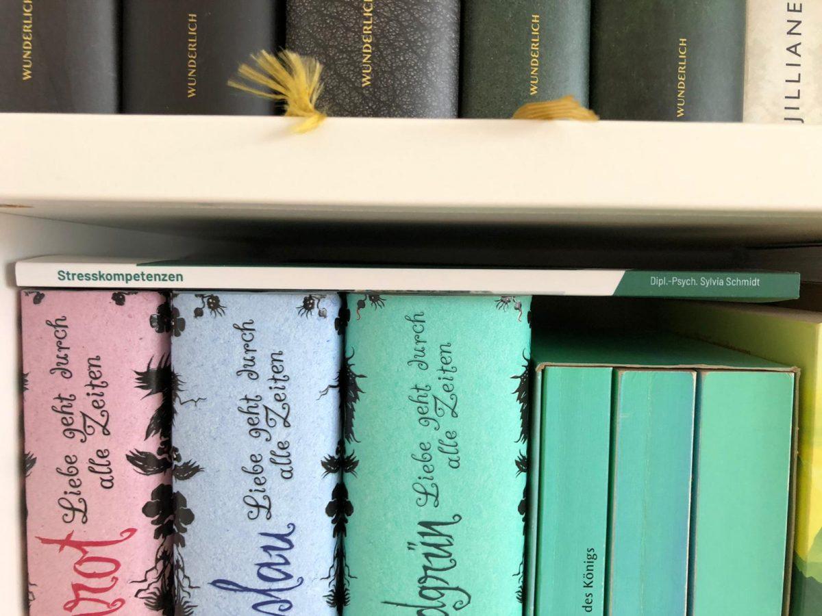 Stresskompetenzen zwischen anderen Büchern im Regal