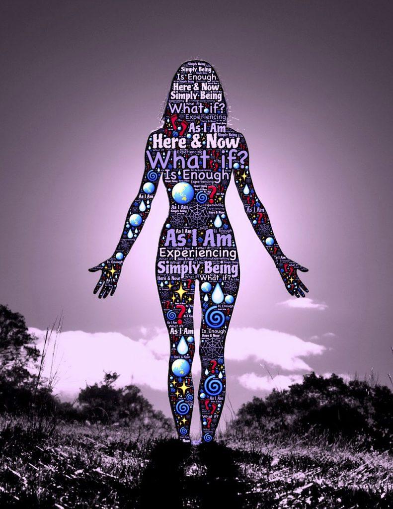 Eine Figur in Menschenform, die mit Wörtern wie Here & Now, What if?, As i Am, Fragezeichen und Spiralen gefüllt ist.