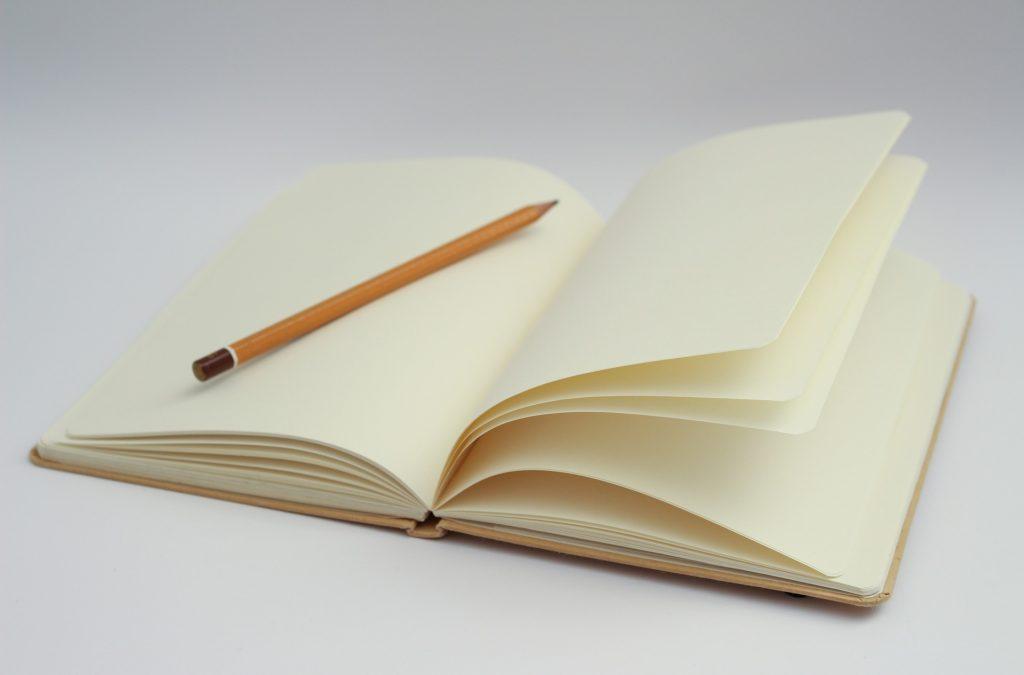 Leere Blätter in einem Notizbuch mit Bleistift