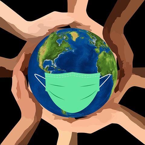 Gezeichnetes Bild eines Globus, der von sechs Händen gehalten wird und Maske trägt