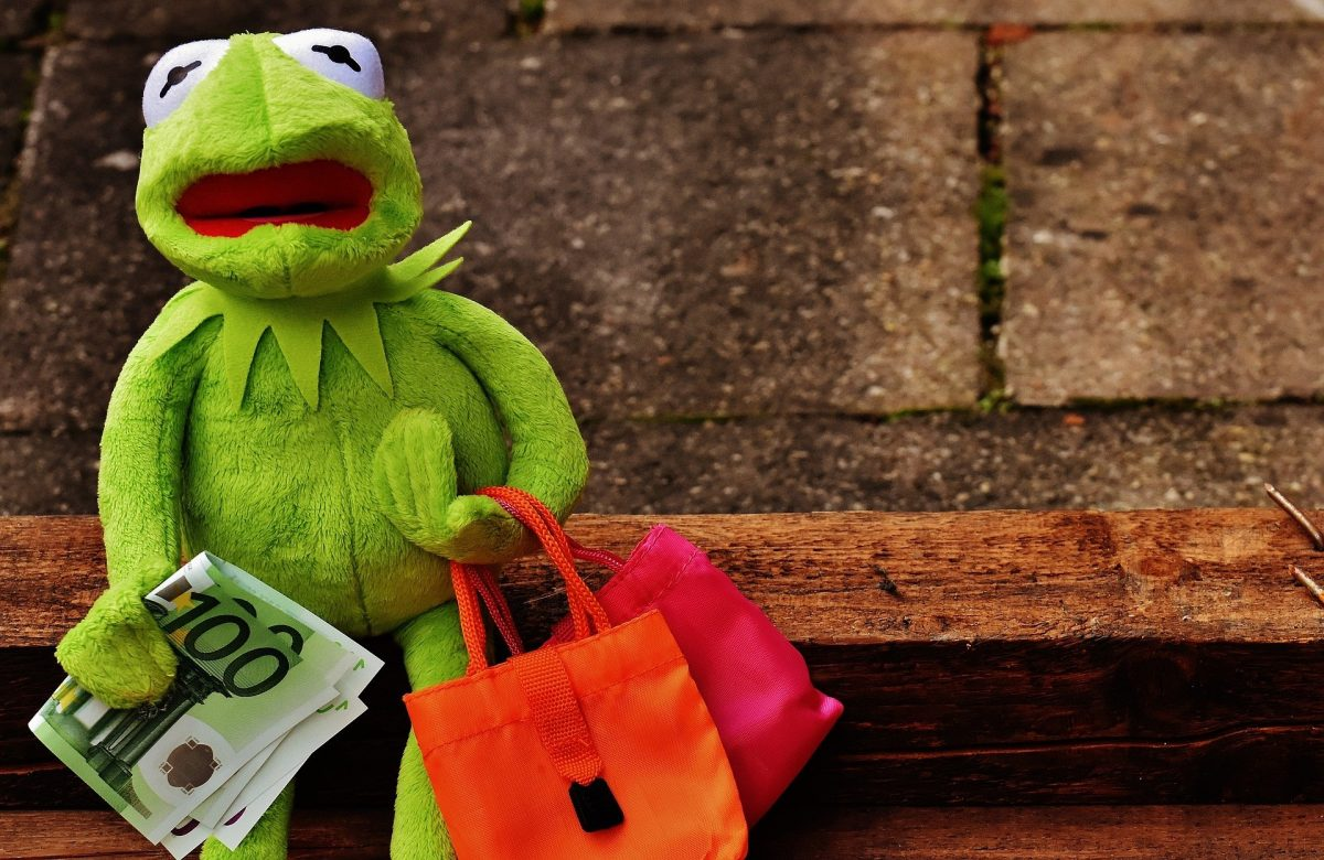 Kermit der Frosch mit Einkaufstaschen und Geld in den Händen und weinerlichem Gesichtsausdruck