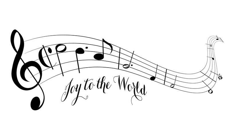 """Geschwungenes Notensystem mit Melodie und Beschriftung """"Joy to the World"""""""