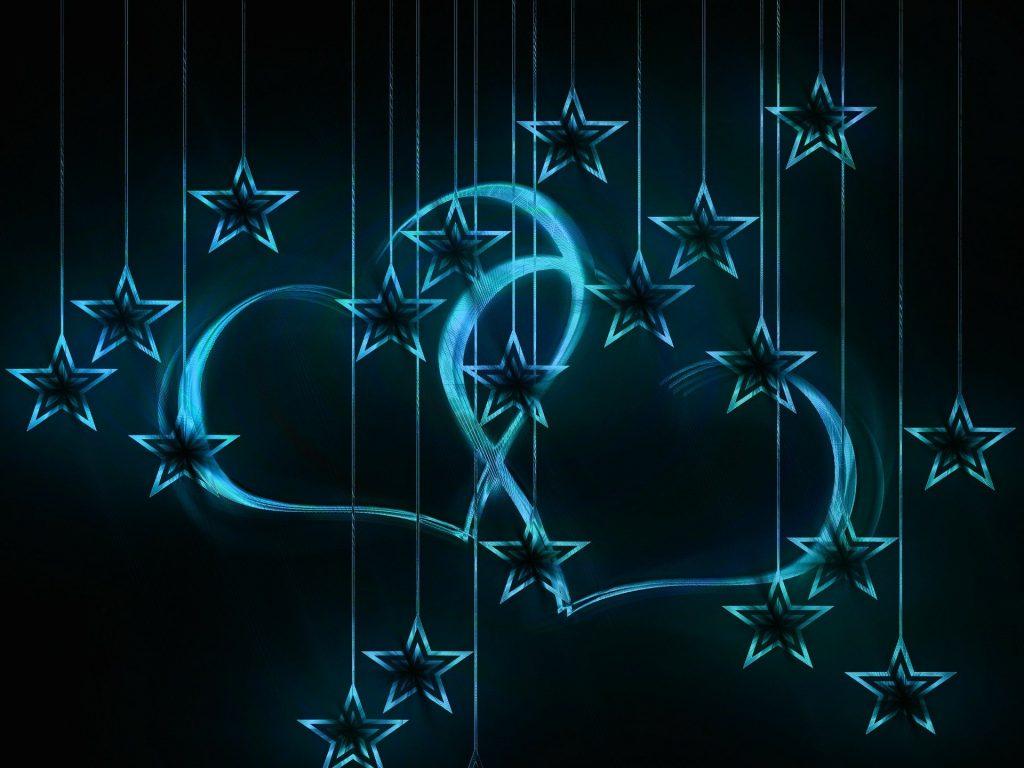 blaue Herzen und Sterne