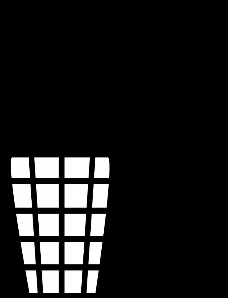 Piktogramm: Mensch schmeißt Papier in Mülleimer